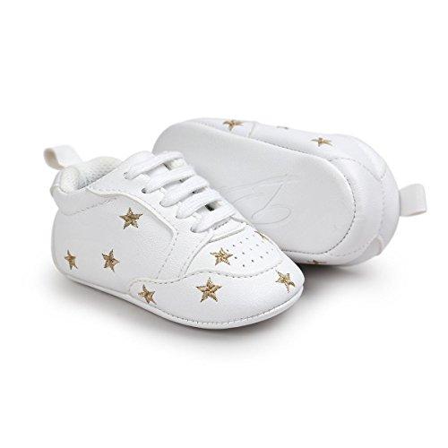 Itaar Babyschuhe Turnschuhe Wanderschuhe mit gestickter Sterne Herzchen und weicher rutschfester Sohle für Babys und Kinder 6-12 Monate Gold