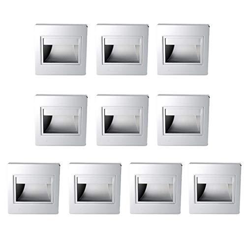 Tubayia - 10 lámparas LED de pared empotrables para interior y exterior,...