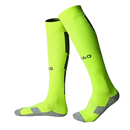 Football socks for men women long Running Sports Compression Sock thick boys Cushioned Support Socks Knee High Breathable Soccer Hockey Tube tranning Socks 2 Pairs multipack  Fluorescent green black