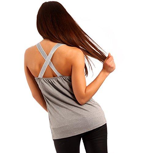 Damen Top Yogatop Tanktop mit gekreuzten Trägern Grau