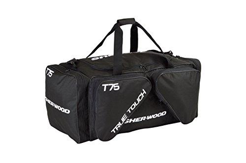 SHER-WOOD - Eishockeytasche T 75 True Touch I Tasche für Hockeyschläger I Hockey Bag aus Nylon I Transporttasche für Eishockeyausrüstung I geeignet für Eishockeyschläger I Schwarz - 144 Liter (M) Hockey Tasche