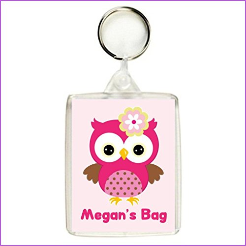 Key Expressions Personalised PINK OWL Keyring / Bag Tag - Ideal for Lunch Boxes, School Bags etc.