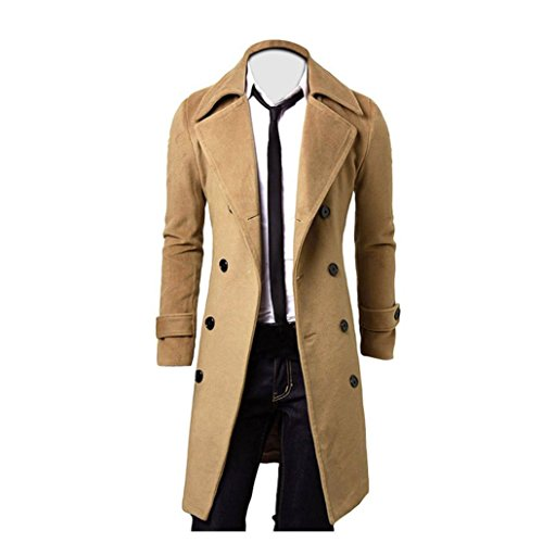 Herren Jacken Longra Herbst Winter Herren Slim Stylish Trench Coat Double Breasted Lange Jacke Parka Mäntel (M, Khaki) (Breasted Mantel)