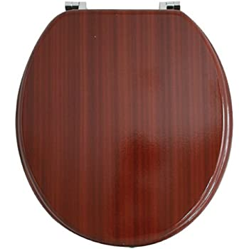 anika mahogany effect toilet seat with chrome plated hinges