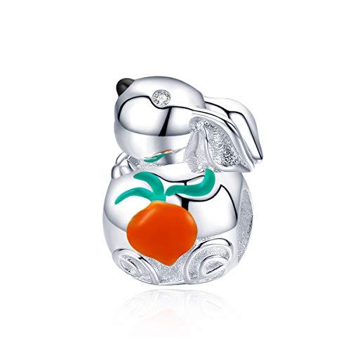 Damen Charm Bead Süßer Hase 925 Sterling Silber Charm Perlen für europäischen Armbänder Geburtstag Weihnachten Valentinstag Danksagung Geschenk