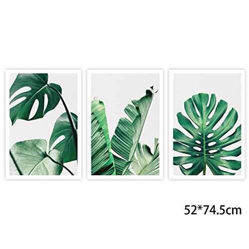 ungera HMT Lienzo Pared Arte, 3Panel paisaje pintura sobre lienzo de arte de pared para Home Office de diciembre de impresión sin marco, Grünes Blatt, 52 x 74,5 cm / 20,47'x 29,33'