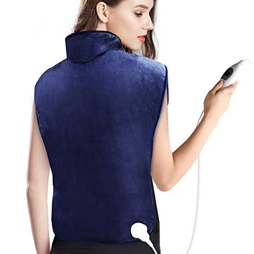 OLICTAR Heizkissen für Rücken Schulter Nacken, Abschaltautomatik Wärmekissen und Schneller Heiztechnologie für Entlastung von Rücken und Schultern Heizdecke, 6 Temperaturstufen und Überhitzungsschutz