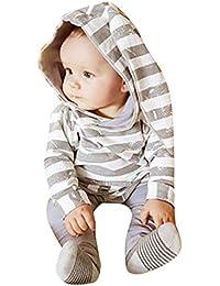 beautyjourney Bebé NiñosNiña Conejo Mameluco de Manga Larga a Rayas con Capucha Sudadera con Capucha + Pantalones Trajes Ropa