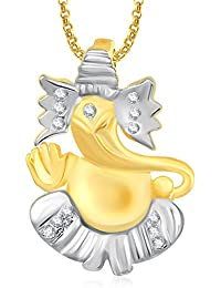 Ganpati God Pendant With Chain Lockets For Men And Women Gold Plated In American Diamond Cz GP332