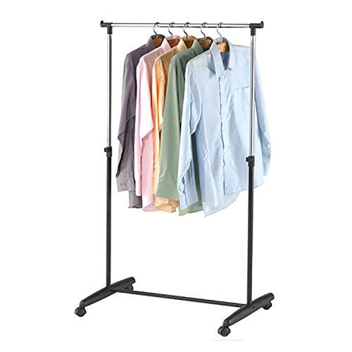 Mojawo® XXL Kleiderständer Gardarobenständer Gaderobe Wäscheständer 93cm-160cm verstellbar mit 1 Stange rollbar