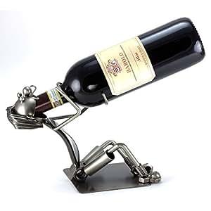 Dekorativer Gilde Flaschenhalter SCHLUCKSPECHT 28cm aus Metall 65062