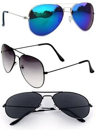 Sheomy UV Protected Aviator Unisex Sunglasses with Cases (BlackBlack_HalfBlack_Silverbluemercury_1) - Set of 3
