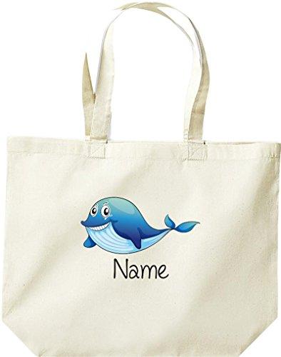 große Einkaufstasche, mit süßen Motiven inkl. Ihrem Wunschnamen Delfin, Natur