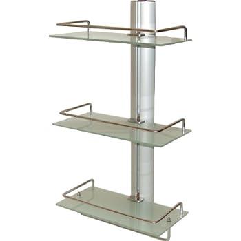 badregal wandregal regal f r bad aus aluminium mit 3 glasablagen k che haushalt. Black Bedroom Furniture Sets. Home Design Ideas