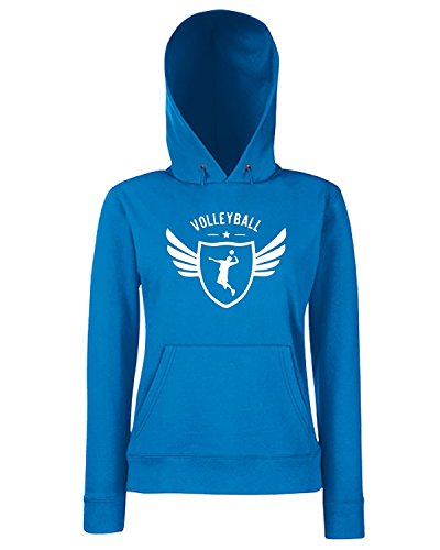T-Shirtshock - Sweats a capuche Femme SP0150 Volleyball Winged Maglietta Bleu Royal