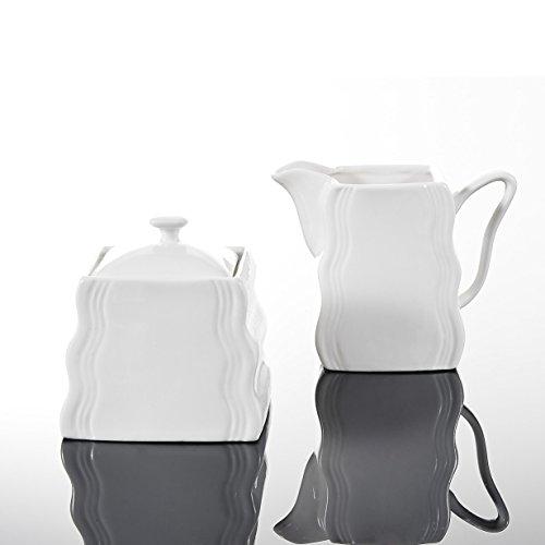MALACASA, Serie Mario, 3-teilig Porzellan Milch und Zucker Set mit Deckel, Milchkännchen Zuckerdose Milch- & Zuckerbehälter