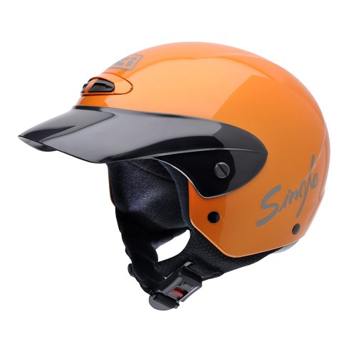 NZI 050216G193 Single Jr Metallic Orange Motorcycle Helmet, Orange, Size 52-53 (L)