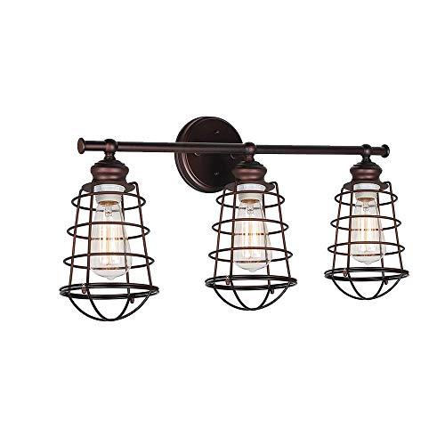 3-Licht Vanity, Vanity Light, Badezimmerlampe über Spiegel, industrielle rustikale Metallkäfig Wandleuchte für Badezimmer (Globes Licht Für Vanity)