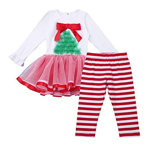 420f65c576bd4 TiaoBug Bébé Fille Noël Ensemble Robe à Manche Longue Tutu Robe Princesse  Soirée Baptême Haut avec