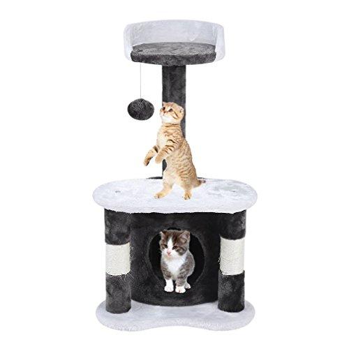 Homgrace Árbol para Gatos Juguete Rascador para Gatos para Que los Gatos para Relajarse, Jugar y Descansar Color Gris (65 cm)