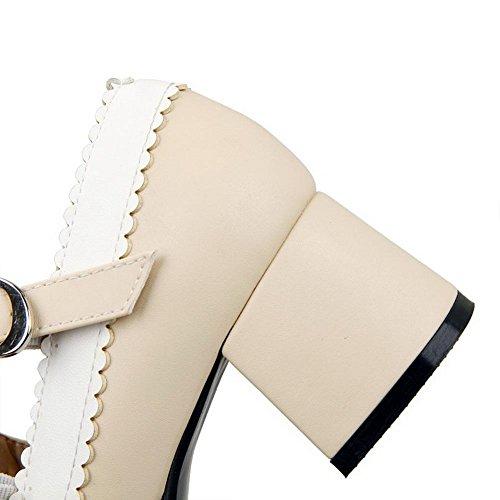 VogueZone009 Damen Pu Leder Gemischte Farbe Quadratisch Zehe Mittler Absatz Pumps Schuhe Cremefarben