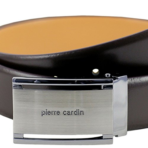 Pierre Cardin leather belt men/belt men, leather belt curved with plate buckle and gift box, dark brown