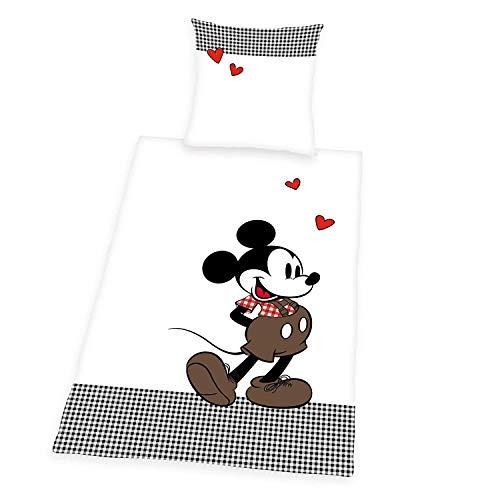 Bavaria Home Style Collection - Mickey Mouse - Maus Bettwäsche Herz | Garnitur Set 135 x 200 + 80 x 80 cm | Farbe weiß schwarz rot braun (Mickey Lädt Mouse)