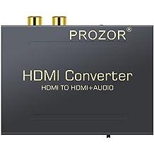 Proster HDMI a HDMI Audio Divisor Digital HDMI a HDMI + SPDIF / RCA Toslink +RCA L/R Audio Convertidor Adaptador Óptica Fibra Salida con Cable USB hasta 1080p para Apple TV Blu-ray Reproductor Xbox One