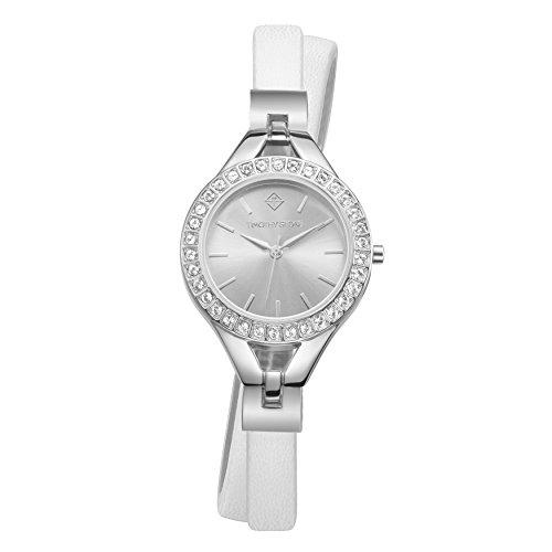 Damen White & Silver Doppel Wrap Watch - Swarovski-Kristalle verschönert Lünette Quarzwerk Vegan Leder Armbanduhr (Wrap Damen Doppel)