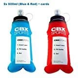 CBX Sports Gourde Souple avec Une Poche Porte-Carte 2X 500ml Bleue + Rouge | Soft...