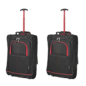 Set of 2 Super Lightweight Cabin Approved Luggage Travel Wheely Suitcase Wheeled Bags Bag Black/Red