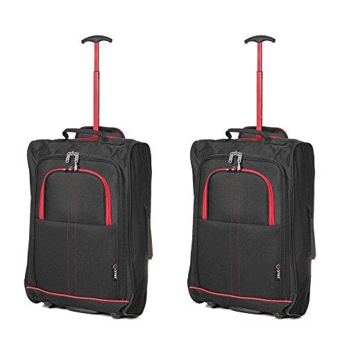 Set von 2 Leichtgewicht Handgepäck Kabinengepäck Flugtasche Koffer Trolley Gepäck Rot / Schwarz