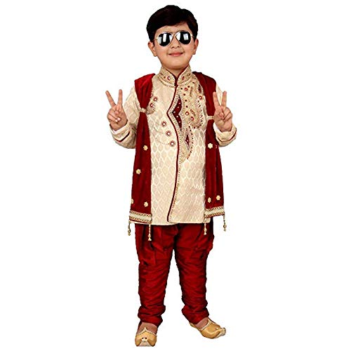 Qtsy Baby Boys Cotton Silk Ethnic Wear Sherwani (Maroon, 1-11 Years)