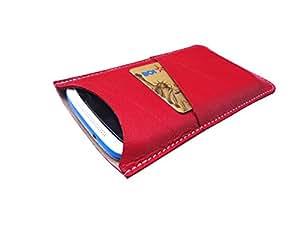 ATV Genuine Leather RED Designer Pouch Case Cover For Lava X38