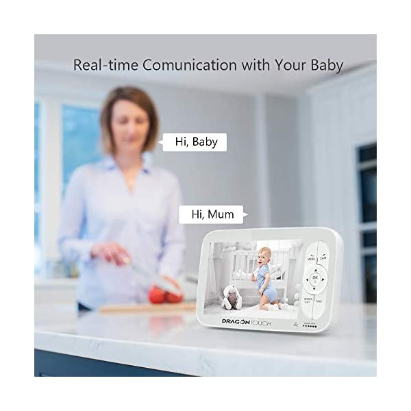 Baby Monitor, Dragon Touch 5 Inch 720P HD Video Baby Monitor with Remote Pan-Tilt-Zoom, Infrared Night Vision, 2-Way Audio, 5 Lullabies, and Temperature Monitoring Capability - Babycare Dragon Touch 720P HD display 3 times clarity than normal 480P display baby monitor. 5-inch large screen give you a better visual experience. The handheld viewing screen let you control the baby camera as you wishes. When the 70° glass lens is combined with the 340° horizontal and 90° vertical rotation range it creates a complete 360° coverage. High-quality built-in microphone and speaker give you the crystal clear two-way communication with your baby. 6