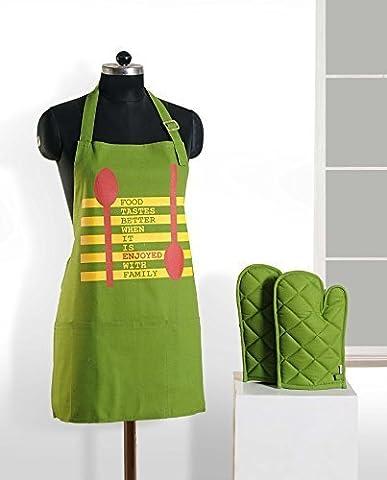 Handgemachte Grafik-Display Print Schürze & Ofen Mitt Set - 100 % Baumwolle - Küche-Geschenke Für Frauen, Apg03-G019