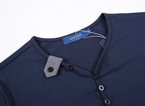 AIYINO Herren T-Shirt mit V-Ausschnitt Kontrast 100% Baumwolle Casual Cardigan Navy