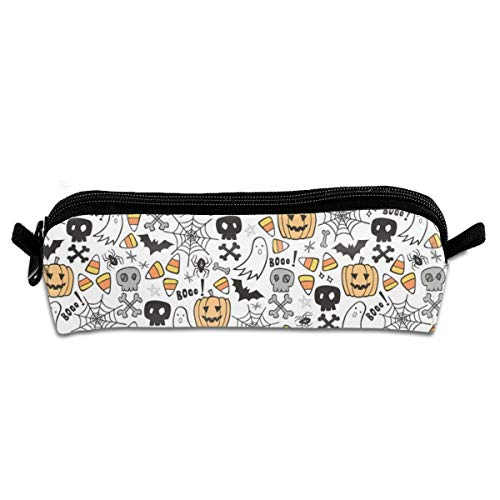 Halloween Doodle With Skulls Bat Pumpkin Spiderweb Ghost On White Pencil Pouch Bag Stationery Pen Case Makeup Box with Zipper Closure 21 X 5.5 X 5 cm
