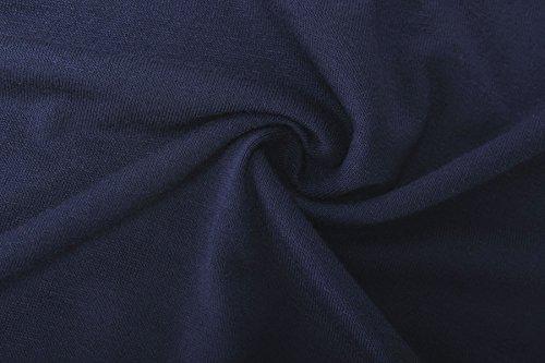 ReliBeauty Damen Boot Ausschnitt T-Shirt Mehrfarbig Farbe Block Raglan Ärmel Falten Tunika Tops Blau&Marineblau
