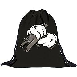 Sannysis bolsos de mujer con cordón, mochila infantil. Gato mochila de lona (B)