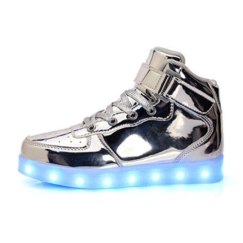 LJ Sport Unisex LED Schuhe Kinder Jungen Mädchen High Top Light Up Schuhe USB Aufladung Blinkende LED Sneakers 7 Farben Modi (EU 35, (Aufleuchten Herren Schuhe)