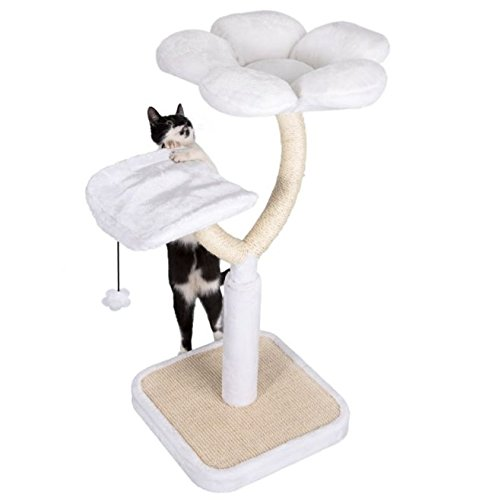 White Blossom Cat Tree Medium - Elegant with Two Platforms and Sisal-Covered Metal Posts - Offers your Cats A Place to… 9