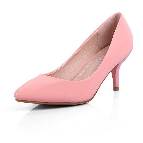 AalarDom Femme à Talon Correct Matière Souple Couleur Unie Pointu Chaussures Légeres Rose-Verni