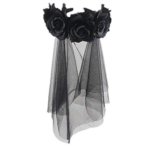 GAOwi 50 cm Hen Party Hochzeit Brautschleier mit Haarband-1 Tier Black Rose Blume Schleier Bar Party Haarschmuck Kopf Schnalle Halloween Cos Dress Up Stirnband,D