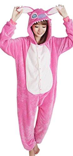 Fancyland Femme Anime Animal Costume Cosplay Combinaison Pyjama Outfit Nuit Onesie Fleece Halloween Costume Soirée de Déguisements (M, Stitch Rose)