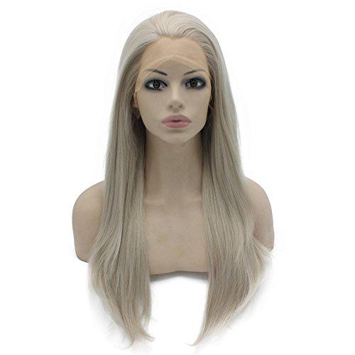 Iwona Cosplay Party Hitzebeständiges Synthetische Faser Synthetikfaser Synthetik Haar Synthetikhaar Lange Gerade Frontseite Spitze Perücke Lace Front Wig grau blond natürlich