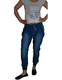 Damen Pluder Pump Jeans Hose PumphoSe PluderhoSe Chino, blue