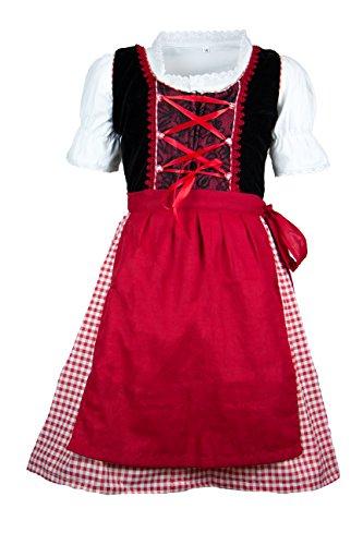 MS-Trachten Kinder Dirndl Julia Samtdirndl Festkleid 3 teilig (128, schwarz rot)