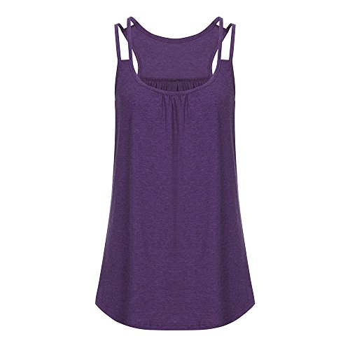 CAOQAO Damen Off Schulter Frauen Solide U-Ausschnitt Nettes Yoga Training Tanktop Camis Bluse LäSsig, Strand, Daliy, Sport, Yoga Elegantes Shirt (Trio Kostüme Für Frauen)