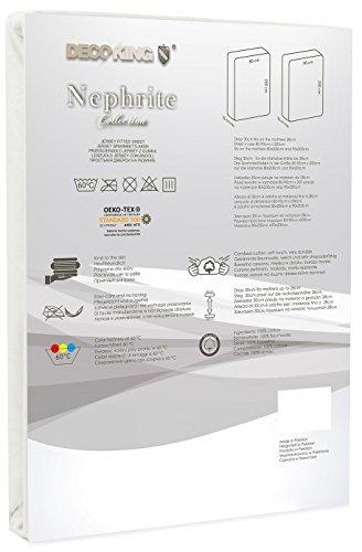 DecoKing 18668 80x200-90x200 cm Spannbettlaken Ecru 100% Baumwolle Jersey Boxspringbett Spannbetttuch Bettlaken Betttuch Ivory Nephrite Collection - 3